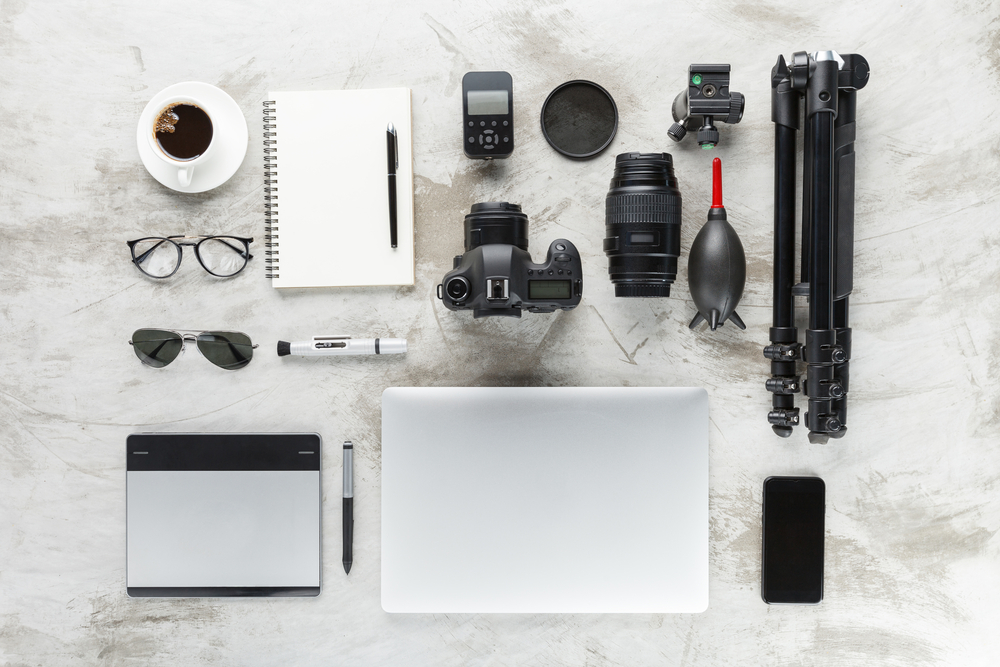 photography accessories on work table top view
